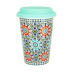 Bögre 4 dl szilikon tetővel, türkizkék mozaik mintával - PORTUGAL - Butopêa.com - Kényelem valódi áron Travel Mug, Mugs, Tableware, Products, Dinnerware, Tumblers, Tablewares, Mug, Dishes