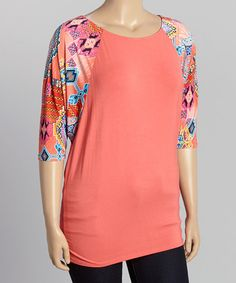 Coral & Blue Tribal Dolman Tunic - Plus by R Rouge #zulily #zulilyfinds