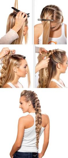 How to put in braid extensions.  1. Wash hair with shampoo.  2. Devide hair into two horisontal parts: upper and lower.  3. Separate a hair strand as wide as 3-4 cm, attach a false braid to it with a special hair clip.