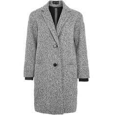 Topshop Tall Salt and Pepper Cocoon Coat ($88) ❤ liked on Polyvore featuring outerwear, coats, monochrome, topshop coats, single-breasted trench coats, zipper coat, cocoon coats and tall coats