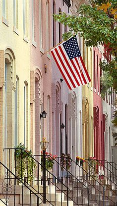 Pastel Rowhouses, Baltimore, Maryland