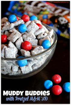Milk Chocolate and Honey Roasted Peanut Butter Muddy Buddies mixed with Pretzel M&M's®, perfect for movie night! Red, White, and Blue for Captain America! #HeroesEatMMs #shop #cbias