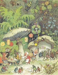 Fritz Baumgarten (German, 1883-1966), illustrator. Erich Heinemann / Wichtelhausen / Bild 27. 1946.