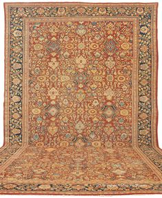 SULTANABAD, West Central Persian, 13ft 8in x 21ft 0in, Late 19th Century. NEW ARRIVAL! We are very pleased to present this dazzling palace size Persian Sultanabad carpet, with its quiet, warm rust field displaying a spectacular array of accent colors. A throng of fanciful blossoms repeats throughout this grand antique carpet, always individualized by virtue of the hand knotting of skillful weavers drawing from a template rather than a knot by knot cartoon.