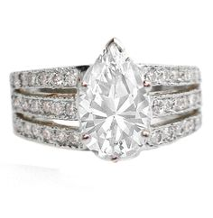 Engagement Ring - 3 Row Split Band for Pear Shaped Diamond Engagement Ring 0.40 tcw. In 14K White Gold - ES517PSWG