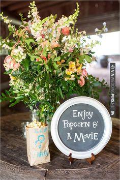 popcorn and a movie at wedding .. SO FUN!!! | CHECK OUT MORE IDEAS AT WEDDINGPINS.NET | #weddings #weddinginspiration #inspirational