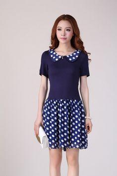 bd620db09012 Blue Slim Sweet Office Lady Plus Size Casual Dress