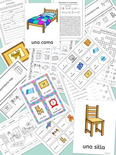Llanguage Llamas Spanish bedroom vocabulary – Mi Dormitorio - Flashcards, word wall, handout, worksheets, flip books, activities and games - this 77 page pack contains everything you need to teach 16 Spanish words for talking about 'my bedroom'.