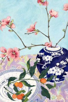 Japonicas and kumquats still life: watercolour, digital print on photographic paper, A2 size. $25.00, via Etsy.