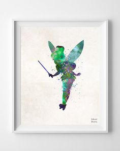 Tinkerbell Disney Watercolor Print, Tinker bell Nursery Baby Room Poster, Art, Illustrations, Watercolour, Giclee Wall, Home Decor [NO 104]