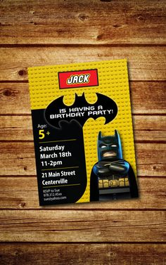 SALE Lego Batman Birthday Party Invitation by 4BeesDesign