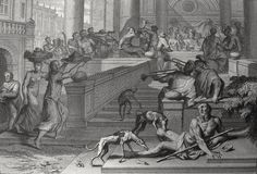 Luke in the Phillip Medhurst Collection 412 The parable of the rich man and Lazarus: Lazarus at the gate Luke 16:19-21 Mortier's Bible on Flickr. A print from the Phillip Medhurst Collection of Bible illustrations, published by Revd. Philip De Vere...