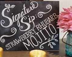 Signature Cocktail Sign - Hand Painted Chalkboard - Custom Wedding Chalkboard Sign