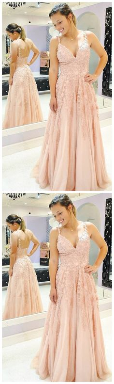 A Line V Neck Spaghetti Straps Lace Appliques Pink Prom Dresses, V Neck Lace Pink Formal Dresses, Pink Evening Dresses Pink Formal Dresses, Yellow Bridesmaid Dresses, Formal Evening Dresses, Dress Formal, Formal Prom, Dress Long, Straps Prom Dresses, Mermaid Prom Dresses, Cheap Prom Dresses