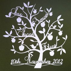 Personalised papercut family tree with special date. £45.00, via Etsy.