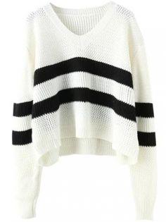 V Neck Striped White Sweater -SheIn(abaday)