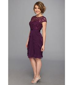 Adrianna Papell Lace Bodice Flutter Skirt Short Dress Eggplant - Zappos.com Free Shipping BOTH Ways
