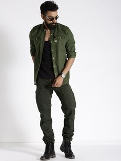 G STAR RAW Olive Green Denim Casual Shirt  #denim #casual #olive #superb #chick