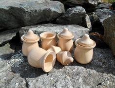 Sorting Games, Bean Pot, Wood Candle Holders, Wood Toys, Pretend Play, Acorn, Montessori, Natural Wood, Pots