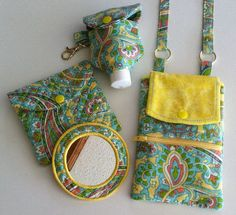 Phone Wallet/Quilted Mirror/Hand Lotion Sets