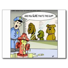 """You are viewing a Rick London Cartoon gift, tee, or collectible titled """"Dog Vs.Hydrants"""". We are honored you visited us. Here you will find award-winning cartoons by the team of Londons Times Cartoons, ranked #1 offbeat cartoon on Google since 2005 We offer the funniest highest quality tees, mugs, mouse pads, posters, prints, tote bags, caps, aprons, and much much more at very affordable prices. All designs are by Rick London and his award-winning Google #1 ranked offbeat cartoon """"Londons…"""