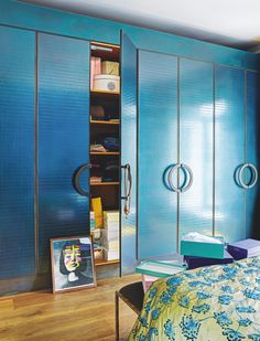 Bedroom | Statement storage | Blue hues | Bold cabinetry | Eclectic style | Modern | Livingetc