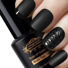 Matte black & black shine nails