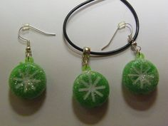 Dangle Green Snowflake Candy Earrings & Necklace Set   101 by ritascraftsandmore on Etsy
