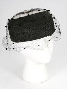 308f2426bd4 Vintage 1950 s-60 s Fancy Church Black White Straw Pill Box Hat Black  Netting  Unbranded