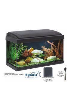 Suitable for tropical fish this aquarium has a modern, elegant appeal and is available with an optional floor cabinet. The Aquaria 60 is supplied with Pink-White LED lighting built into the hood to enhance fish colours and help promote plant growth. The highly efficient internal filter, heater and pump will help keep the water clear and support tropical fish life.Depth: 30 CMHeight: 40 CMWidth: 60 CMCare Instructions: Included