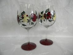 Wine glasses-hand painted Wine glasses-painted by Morningglories1