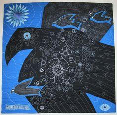 Black Bird Blue Day art quilt by Claire Gimber.  2013 Four Corners exhibit, Flagstaff Arts Council.