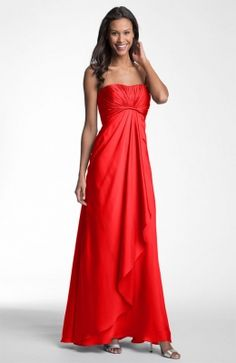 Don't worry ladies, I won't make you wear long bridesmaids dresses, but I do like the color! A pop of Coral. ML Monique Lhuillier Bridesmaids Strapless Gown (Nordstrom Exclusive) available at Nordstrom Monique Lhuillier Bridesmaids, Ml Monique Lhuillier, Chiffon Gown, Strapless Dress Formal, Chiffon Dresses, Red Bridesmaids, Bridesmaid Dresses, Top Mode, Red Summer Dresses
