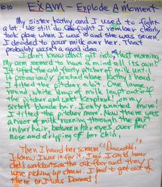 Explode A Moment - Two Revisions Student Sample Teaching Writing, Teaching Resources, 10th Exam, 6 Traits, Writing Anchor Charts, Personal Narratives, Narrative Writing, Small Moments, Writer Workshop