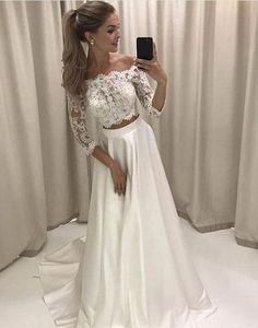 Abendkleider Weiß Günstig Mit Ärmel A Linie Spitze Abendmoden Online_Brautkleider,Abiballkleider,Abendkleider