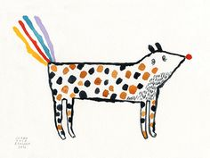 Rainbow's guard dog // Original watercolor by joanarosab on Etsy