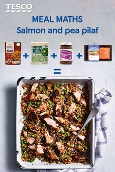 A deliciously easy salmon pilaf recipe: Preheat the oven to gas 7, 220°C, fan 200°C. Mix 2 x 250g packs wholegrain rice with haricot beans & quinoa, 100g garden peas, 2 tbsp olive oil, 1 tbsp Ras el Hanout paste & 100ml water in a roasting dish; spread another 2 tbsp paste over 1 x 260g pack boneless salmon fillets; nestle into the rice. Cover with foil & roast for 15 mins. Remove the foil; roast for 5-6 mins, until the fish is cooked through, then flake, discard the skin & toss through the…