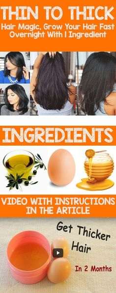 THIN TO THICK HAIR MAGIC, GROW YOUR HAIR FAST OVERNIGHT WITH 1 INGREDIENT (VIDEO) via @globalpublichealth