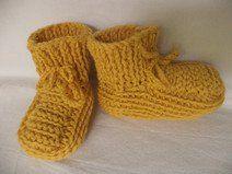 Babyschuhe gestrickt Gr. 74/80 Merinowolle Schuhe