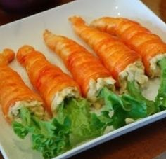 "Crescent roll stuffed with chicken salad ~ ""carrots"" for Easter 