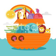 Happy Colorful Noah's Ark royalty-free stock vector art