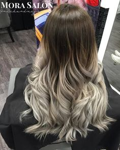 long brown to silver ombre hair - Langhaarfrisuren Ombre Hair With Highlights, Ash Blonde Ombre Hair, Silver Ombre Hair, Best Ombre Hair, Ombre Hair Color, Guy Tang, Straight Hairstyles, Long Hair Styles, White Ombre