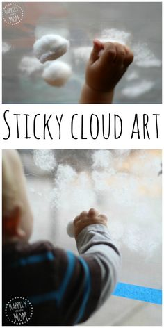 Making cloud art for kids is simple when you let them work in the window. All you need is a sticky surface to make this simple cloud art.