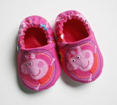 Peppa Pig baby/toddler cotton slippers. Grip tight soles for 9 months up. Made to order. by RosenLilyCreationz on Etsy