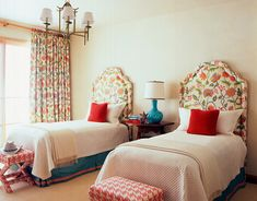 Cute Double Bed Guestroom - Would choose different headboard and curtain pattern.