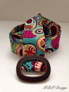 Bright fun patterned fabric belt 2 wide by MBPDesign on Etsy