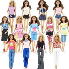 ランダムに選んでロット20ピース= 10靴+ 10セットファッション衣装ブラウスズボンドレスショーツパンツスカート服用barbie人形