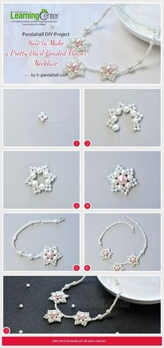 Pandahall Original DIY Project - How to Make a Pretty Pearl Beaded Flower Necklace from LC.Pandahall.com | Jewelry Making Tutorials