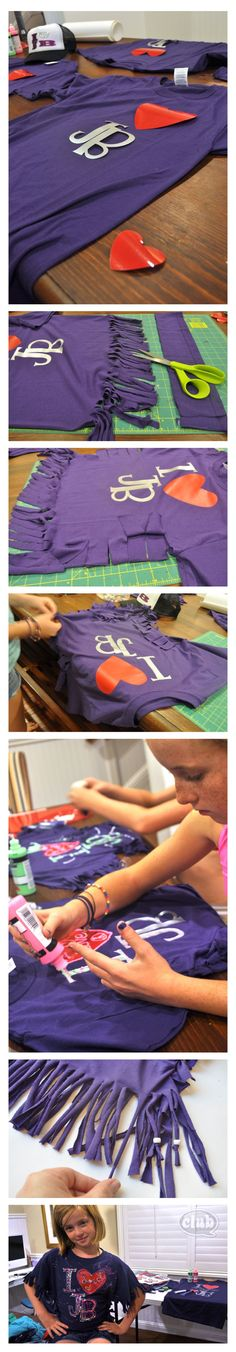Justin Bieber styled shirt DIY - how to transform an adult sized shirt into a custom fitted one for your tween