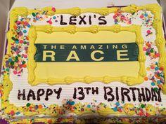 Amazing race birthday party- cake - made by sending amazing race logo ...